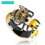 MECHOSEN Unique Enamel Esmalte Bees Bangles AAA Zircon Pulseira Masculina Copper Crystal Insect Bileklik Luxury <b>Jewelry</b> With Box