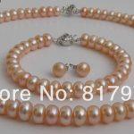 Classic Flower Orange Natural Pearl AAA highlight pearl <b>Handmade</b> Necklaces Bracelet Earring Set Freshwater Pearl women <b>Jewelry</b>