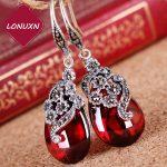 3 colors green natural semi-precious stones Silk Princess 925 Sterling Silver Vintage Flower red Earrings <b>handmade</b> women <b>jewelry</b>