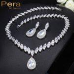 Pera Classic Big Water Drop <b>Necklace</b> And Earrings Long Dangling Blue Cubic Zirconia Evening Party <b>Jewelry</b> Sets For Women J047