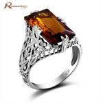 Brand Vintage Real 925 Sterling <b>Silver</b> Big Brown Stone Amber Ring Crown Punk Women <b>Jewelry</b> Victoria Wieck Wedding Cocktail Ring