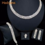 HADIYANA Classicl Design 4pcs Sets 2 Color Wedding Bridal Jewelry Sparkling Crystal Bride Party Date Princess Queen BN6357