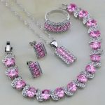 925 <b>Silver</b> Jewelry Sets Pink Cubic Zirconia White CZ Wedding Jewelry Sets For Women Stud Earring/Pendant/Necklace/<b>Bracelet</b>/Ring