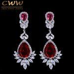 CWWZircons Beautiful Queen Fancy Red Cubic Zirconia Long Bridal <b>Wedding</b> Big Drop Marquise Earrings Brides <b>Jewelry</b> Gift CZ056