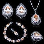 L&B Roma Royal Vintage Champagne Stone White Crystal 925 Stamp <b>Silver</b> Color Jewelry Sets For Women Hoop Earrings <b>Bracelets</b> Sets
