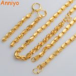 Anniyo (TWO SIZE) Ethiopian Necklace Earrings Bangle Gold Color & Copper <b>Jewelry</b> sets African/Cuba/Mexico/Nigeria Gifts #044204