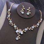 Dower me Bridal <b>Jewelry</b> Gold Leaf Wedding Necklace Earrings Set Fashion Women Prom <b>Jewelry</b> Sets <b>Accessories</b>