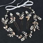 4pcs Vintage Gold Color Bride Hair <b>Jewelry</b> Pearl Headband For Wedding Hair Accessories Women Crystal Pearl Hairpins Headpiece
