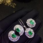 Classic emerald jewelry set for evening party real natural emerald <b>earrings</b> ring pendant set 925 <b>silver</b> emerald fine jewelry