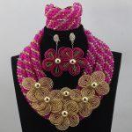 Hot Pink New Braid Flowers Necklace Set <b>Handmade</b> Wedding African Beads Bridal <b>Jewelry</b> Sets Free Shipping ABL646