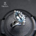 TBJ,100% natural Brazil aquamarine mq5*10 0.75ct diana gemstone ring in 925 sterling <b>silver</b> precious stone <b>jewelry</b> with gift box