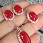 KJJEAXCMY Boutique jewels 925 pure <b>silver</b> inlaid natural red coral female pendant pendant ring 3 sets of gold.