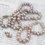 Selling <b>Jewelry</b>>>>Purpel Pearl Necklace Sets Fish Clasp 7-8mm Necklace 18 Inch Bracelet 7.5 Inch Earring Women <b>Jewelry</b> <b>Making</b>