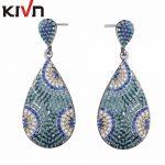 KIVN Fashion <b>Jewelry</b> Dangle Turkish Blue eye CZ Cubic Zirconia Bridal <b>Wedding</b> Earrings for Womens Girls Christmas Birthday Gifts