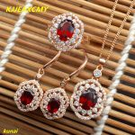 KJJEAXCMY boutique jewels 925 <b>silver</b> inlaid garnet lady pendant <b>earrings</b> ring three-piece set simple gift necklace.