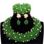 Fashion Christmas Gift Wedding African Beads <b>Jewelry</b> Set Nigerian Statement <b>Necklace</b> Set Green Gold Crystal <b>Jewelry</b> Set 2018 New