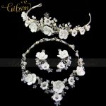 Free Shipping <b>Silver</b> Plated Austrian Crystal White Flower Bridal Jewelry Sets Including <b>Necklace</b> Earring and Crown Headband