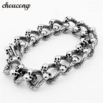 choucong 316L Stainless Steel <b>bracelets</b> Length 22cm <b>Silver</b> Men's Skeleton Skull <b>bracelet</b> Ghost bangle Biker Punk Rock Jewerly