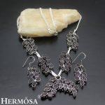 Pretty Purple Charms Jewerly Retro Beauty 925 Sterling <b>Silver</b> Chain <b>Necklace</b> Drop Earrings Women Jewelry Set NY344