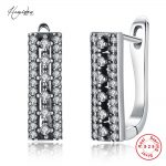 Hemiston Thomas Vintage Rectangle Pattern 925 Sterling Silver Women Creole Earrings, Bijoux <b>Jewelry</b> Female Gift TS E183