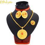 Ethlyn Ethiopian Gold Color <b>Jewelry</b> Sets Zircon Set With Ethiopian <b>Handmade</b> Chain Habesha Iuxury Wedding Set S134