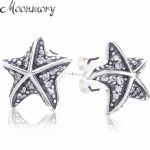 Moonnory 925 Sterling Silver Tropical Starfish Earring Studs With Clear Zircon For Woman Fashion <b>Jewelry</b> <b>Making</b> Authentic Silver