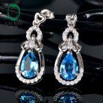 Caimao <b>Jewelry</b> 925 <b>Sterling</b> <b>Silver</b> 6x9mm Pear Shape Blue Topaz Drop Earrings