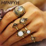 MFNFYH Punk Vintage Resin Stone Knuckle Ring Set Boho <b>Antique</b> Gold Geometric Midi Rings for Women Accessories Bohemian <b>Jewelry</b>