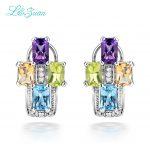 I&Zuan 925 Sterling <b>Silver</b> Jewelry Amethyst Purple Stud <b>Earrings</b> for Women 4 Color Amethyst/Green Crystal/Topaz/Citrine Stone