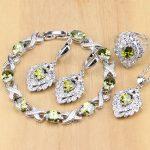 Square 925 <b>Silver</b> Jewelry Olive Green Cubic zirconia Jewelry Sets For Women Wedding Earrings/Pendant/Necklace/Rings/<b>Bracelet</b>