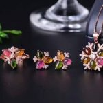 Natural tourmaline gem jewelry sets natural gemstone Pendant ring <b>Earrings</b> 925 <b>silver</b> Elegant luxurious Flowers women jewelry
