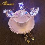 Shiny Baroque Star LED Crown Headband Light-up Crystal Tiara and Ear Clip Earrings Gold Plate Party Hair <b>Jewelry</b> for Women HG152