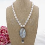 N100207 21″ White Rice Pearl Necklace Mabe Keshi Pearl Pendant