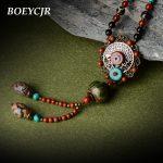 BOEYCJR Retro Ethnic Natural Stone Dzi Bead Necklace <b>Handmade</b> <b>Jewelry</b> Rope Chain Vintage Pendant Necklace for Women Gift 2018