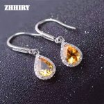 ZHHIRY Genuine Citrine Gem Earring Natural Yellow Creastly Stone Solid 925 <b>Sterling</b> <b>Silver</b> Earrings Women Fine <b>Jewelry</b>