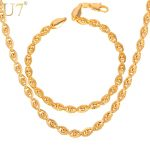 U7 Bracelet And Necklace Set Rose Gold Color Bead Chains <b>Jewelry</b> Set For Men/Women Party <b>Accessories</b> Sale S608