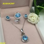 KJJEAXCMY boutique jewels 925 <b>silver</b> inlay Natural Blue Topaz Ring Pendant <b>Earrings</b> 3 suit jewelry necklace sent abd