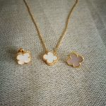 fashion necklace and <b>earrings</b> white shell clover <b>silver</b> jewelry set