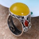 MetJakt Natural 2cm Yellow Chalcedony Ring with Small Garnet Agate Solid 925 Sterling <b>Silver</b> Open Ring for Women Bohemia <b>Jewelry</b>