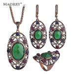 Oval Style Turkish Vintage <b>Jewelry</b> Sets Necklace & Earrings & Ring <b>make</b> you looks like thin Stunning Acrylic Crystal Anti Gold