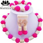 Fashion african wedding beads Hot Pink plastic and coral nigerian wedding african beads <b>jewelry</b> set Free shipping Majalia-253