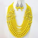 Yellow lemon 7 rows necklace earrings round shell baking paint glass crystal ababcus beads <b>handmade</b> Charms <b>jewelry</b> set B1297