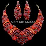 Red African Coral Beads Shamballa crystal Bridal Wedding <b>Jewelry</b> Sets Dinner party Statement <b>Necklace</b> Earrings For women <b>jewelry</b>