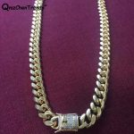 10MM / 14MM Men Cuban Miami Link CZ <b>Necklace</b> Stainless steel Rhinestone Lock Clasp Iced Out Gold <b>Silver</b> Hip hop Chain <b>Necklace</b>