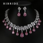 HIBRIDE Top Quality Tear Drop Shape AAA Cubic Zirconia Bridal Wedding <b>Jewelry</b> Sets,White Gold Color <b>Jewelry</b> Set N-59