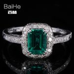 BAIHE <b>Sterling</b> <b>Silver</b> 925 0.81ct Certified Flawless Emerald CUT Treated Emerald Engagement Women Trendy Fine <b>Jewelry</b> unique Ring