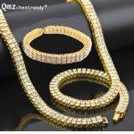 "Men Hip Hop Gold <b>Silver</b> Bling 2 Two Rows Rhinestone Pharaoh CZ Jewelry Sets Miami Cuban Chain 30″ CZ Necklace 8"" <b>Bracelet</b> Set"
