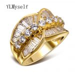 High quality fashion designer rings <b>jewelry</b> copper <b>accessories</b> Sparkly Crystal friendship-ring Gold and White color women ring