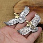 925 <b>sterling</b> <b>silver</b> <b>jewelry</b> Retro Thai <b>silver</b> plated copper personality male flying Eagle Gold head pop Takahashi Pendant