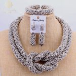 2017 Copper Fine Jewelry Set <b>Silver</b> Beads Dubai Choker Necklace 2 Layers Nigerian Wedding African Beads Jewelry Sets Fashion